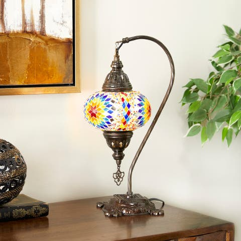 Glass Bohemian Accent Lamp 17 x 6 x 9 In