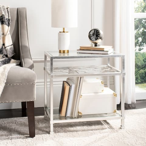 """SAFAVIEH Couture Hanzel Side Table - Silver / Glass - 22"""" W x 13.1"""" L x 22"""" H"""