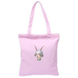 Home Travel Canvas Girl Print Zipper Closure Book Tote Bag Shopping Handbag Pink