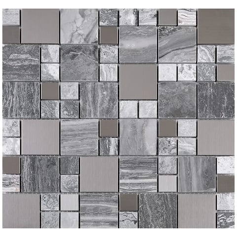 TileGen. Random Square Mixed Material Tile in Gray/Silver Wall Tile (10 sheets/9.6sqft.)