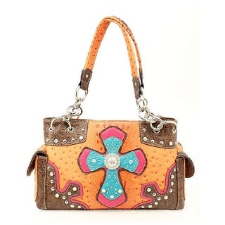 Nocona Western Handbag Womens Satchel Cross Ostrich N7528626 - tan pink - One size