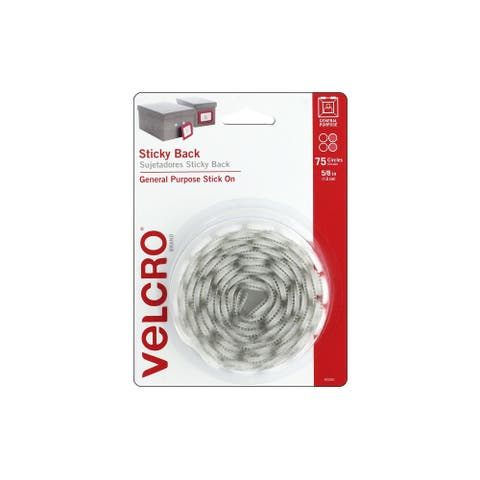 """Velcro Sticky Back Circles 5/8"""" White 75pc"""