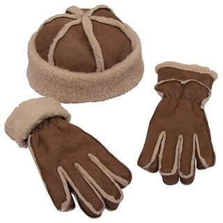NICE CAPS Girls Sherpa Lined Micro Fiber Suede Hat And Glove Set - khaki brown/natural sherpa - 8-12yrs