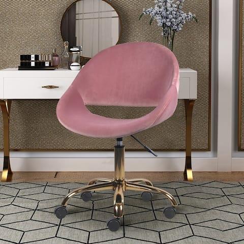 Velvet Upholstered Makeup Vanity Chairs with Golden Chrome Base