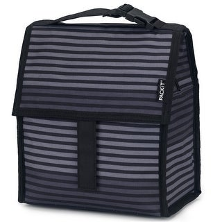 PackIt PKT-PC-STR Freezable Lunch Bag with Zip Closure, Gray Stripe