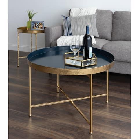 Kate and Laurel Celia Round Metal Coffee Table - 28.25x28.25x19