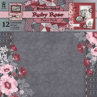 "Hot Off The Press Double-Sided Paper Pack 12""X12"" 12/Pkg-Ruby Rose"