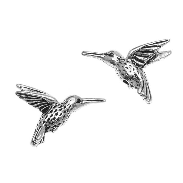 TierraCast Fine Silver Plated Pewter Hummingbird Beads 13mm (2)