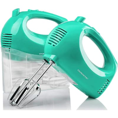 Ovente Portable 5 Speed Mixing Electric Hand Mixer with Stainless Steel Whisk Beater Attachments