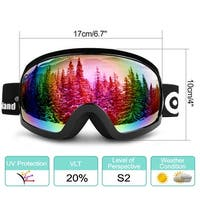 Odoland S2 General OTG Ski Goggles Double Anti-Fog Lenses w/ UV400 Protection for Adult Snowboarding Skating Sledding