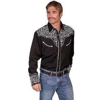 Scully Western Shirt Men L/S Pearl Snap Embroidered Scroll P-815|https://ak1.ostkcdn.com/images/products/is/images/direct/b2a072902dd6f4ea833a0d68bcede5fe396cd314/Scully-Western-Shirt-Men-L-S-Pearl-Snap-Embroidered-Scroll-P-815.jpg?impolicy=medium