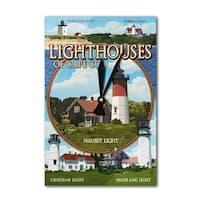 Cape Cod, MA - Lighthouses Montage - LP Artwork (Acrylic Wall Clock) - acrylic wall clock