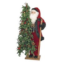"57"" Father Christmas Santa Birdwatcher with Pre-Lit Tree - Clear LED Lights - green"