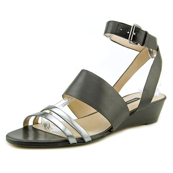French Connection Wiley Women Open Toe Leather Black Wedge Sandal