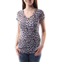 1afad6711d300 MATERIAL GIRL Womens Gray CUT OUT BACK Animal Print Short Sleeve V Neck Top  Juniors Size