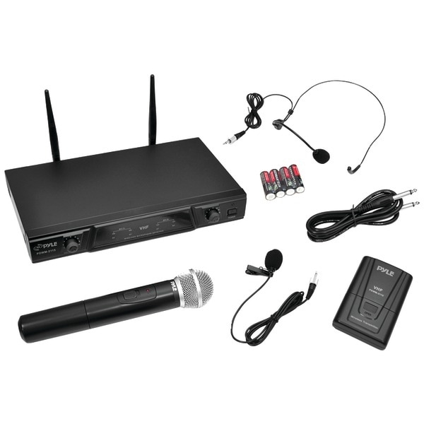 shop pyle pro pdwm2115 vhf wireless microphone receiver system with independent volume control. Black Bedroom Furniture Sets. Home Design Ideas