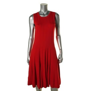 Lauren Ralph Lauren Womens Petites Ribbed Trim Sleeveless Sweaterdress