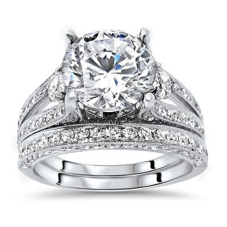 Link to 18k White Gold 2ct Round Moissanite and 1.60ct Diamond Engagement Ring Set Similar Items in Rings