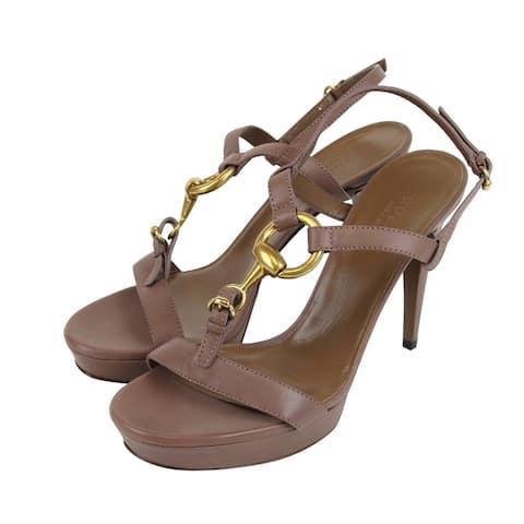 Gucci Women's Mauve Leather Platform Sandal with Horsebit 310369 6820