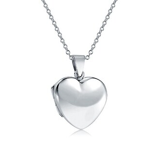 Bling Jewelry .925 Silver Classic Smooth Polished Heart Locket Pendant Necklace 18 Inch