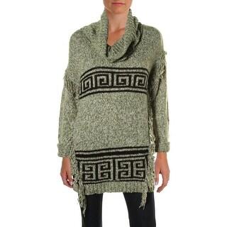 Kensie Womens Fringe Funnel Neck Pullover Sweater
