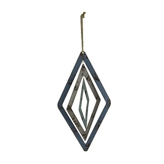Blue and Grey Cutout Metal 3D Diamond Shaped Wind Spinner Decoration - 26 X 10 X 10 inches