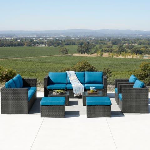 Corvus Trey 12-piece Sectional Wicker Patio Sofa Set