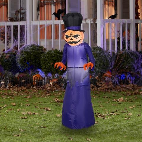 Gemmy Airblown Pumpkin Reaper w/Top Hat, 5 ft Tall, Purple