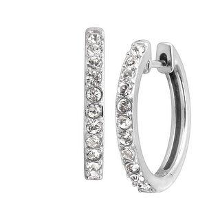 Petite Hoop Earrings with Crystals in Sterling Silver