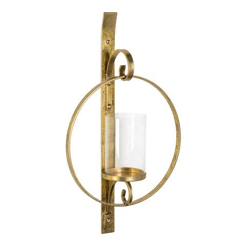 Round Glass and Metal Wall Sconce - 12x22