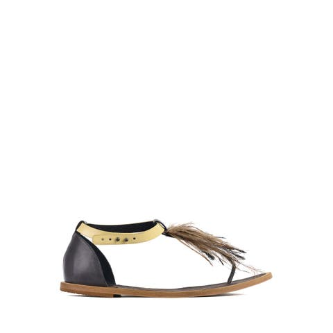 Brunello Cucinelli Womens Grey Feathered Yellow Strap Thong Sandals~RTL$850