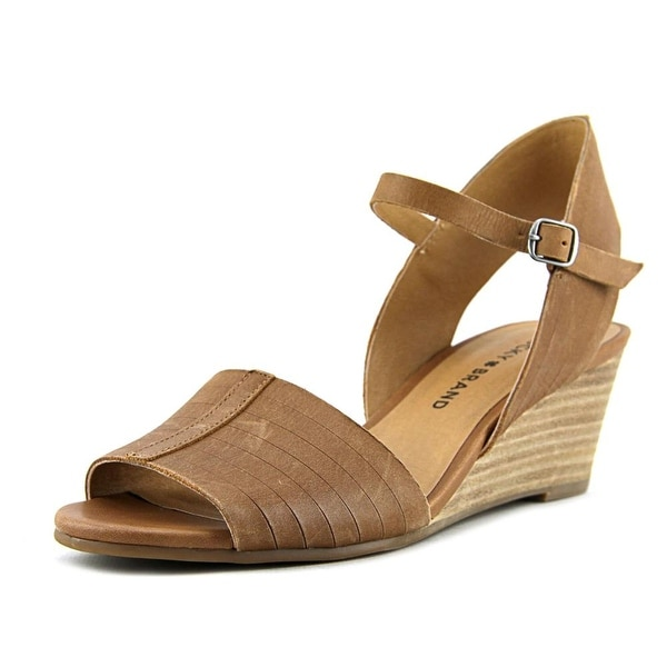 Lucky Brand Jimbia Women Open Toe Leather Brown Wedge Sandal