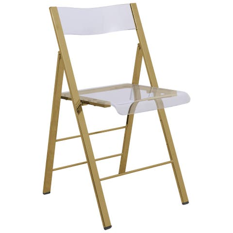 LeisureMod Menno Clear Gold Chrome Frame Folding Dining Chair