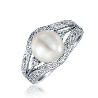 Bling Jewelry .925 Silver Vintage Style 9mm Freshwater Cultured Pearl Engagement Ring - White