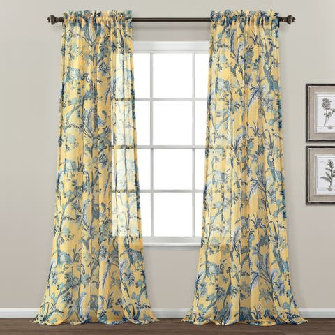 "Lush Decor Dolores Sheer Window Curtain Panel Pair - 84"" x 52"""