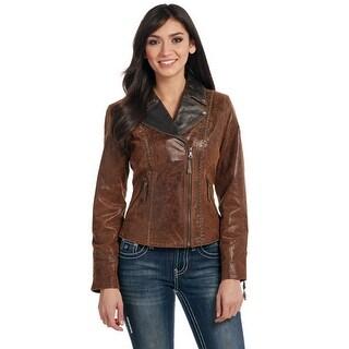 Cripple Creek Western Jacket Womens Zipper Accent Leather LL25729