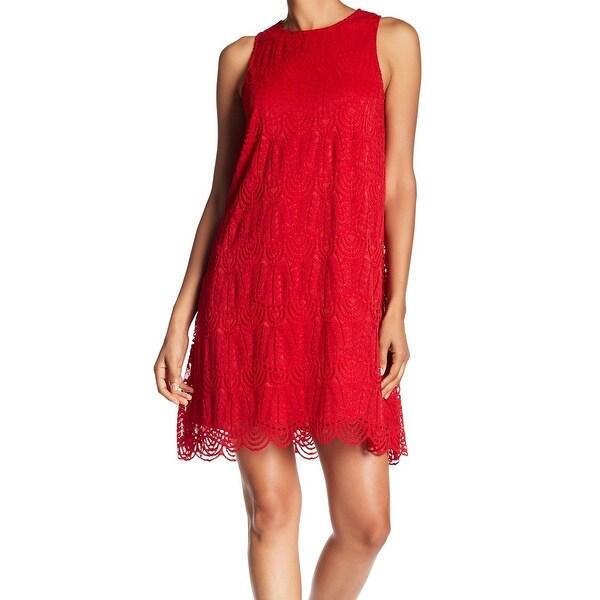 6ff04c0d12f Sharagano Women's Scalloped Hem Lace Crewneck Dress