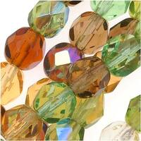 Czech Fire Polished Glass Beads 6mm Round 'Earthtones Green Brown Amber Mix' (50)