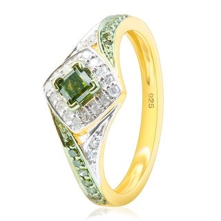 Brand New 0.52 Carat Princess and Round Shaped Green Diamond With Diamond Engagement Ring
