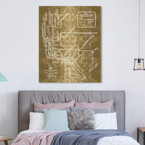 Oliver Gal 'New york Subway Map 1958 Inverted Gold Metallic' Maps and Flags Wall Art Canvas Print - Gold, White