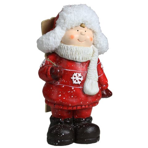 """10.5"""" Red and White Boy with Skis Decorative Christmas Tabletop Figure"""