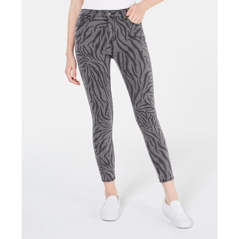 Tinseltown Juniors' Zebra-Print Skinny Jeans Gray Size 3