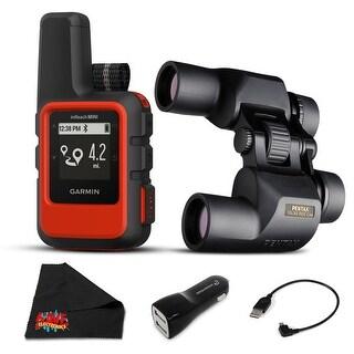 Garmin inReach Mini Satellite Communicator (Orange) Hiking GPS - Bundle with 1 Year Extended Warranty + Pentax PCF CW Binoculars