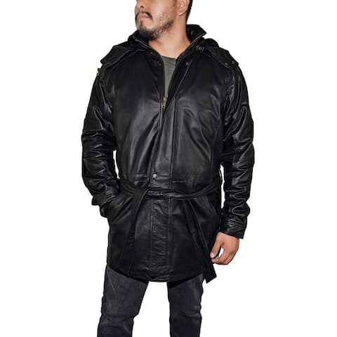 Men's 3/4 Quarter Leather Coat with Hood and Zipout Liner