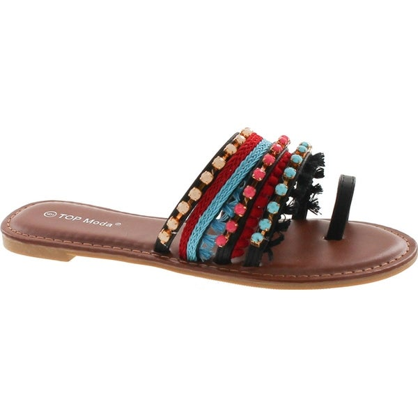 Top Moda Women's Flat Bohemian Tribal Style Sandal With Fringe And Faux Stones