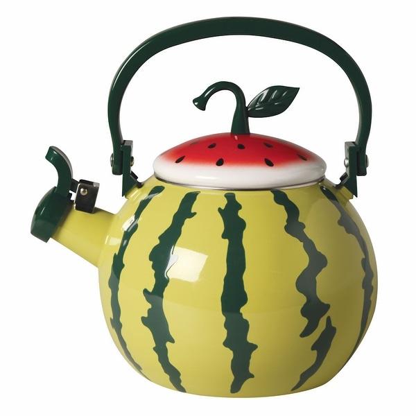 Whistling Fruit Shaped Tea Kettle - Enamel - Watermelon