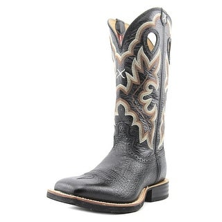 "Twisted X Ruff Stock 14"" Men Square Toe Leather Black Western Boot"