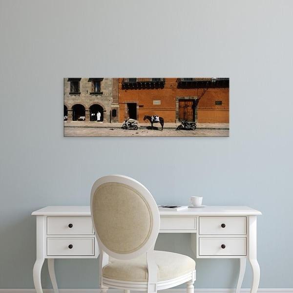 Easy Art Prints Panoramic Image 'Horse, Motorcycles parked, San Miguel De Allende, Guanajuato, Mexico' Canvas Art