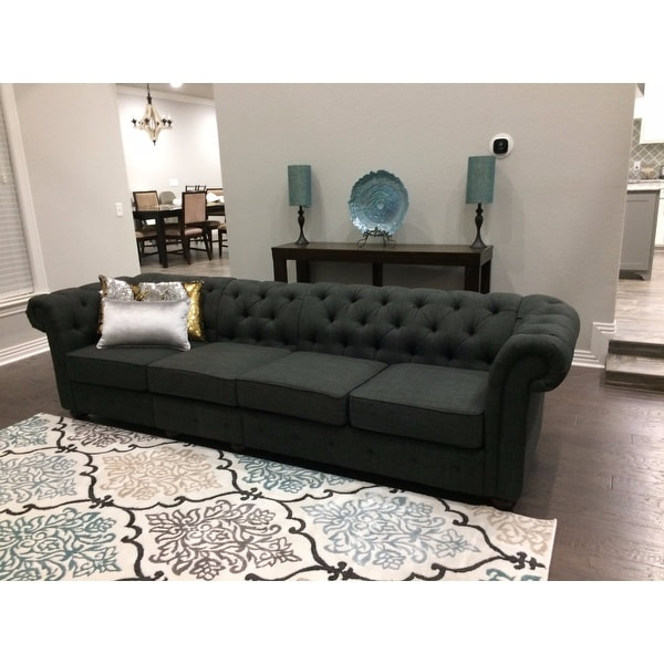 Knightsbridge Dark Grey Extra Long Tufted Chesterfield Sofa By Inspire Q On Free Shipping Today 14045494