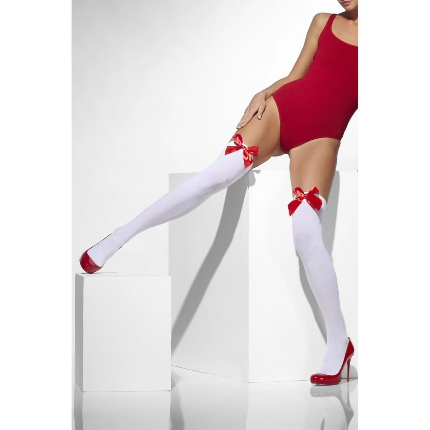 Opaque Hold Ups White With Hearts Ladies Fancy Dress Accessory